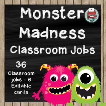 Classroom Jobs - Monster Madness Theme