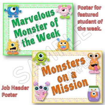 Classroom Jobs MONSTERS themed EDITABLE Classroom Job Cards and Display