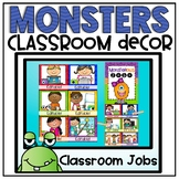Classroom Jobs Clip Chart in a Monsters Classroom Decor Theme