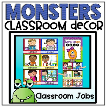Classroom Jobs Clip Chart {Monsters Classroom Decor Theme}
