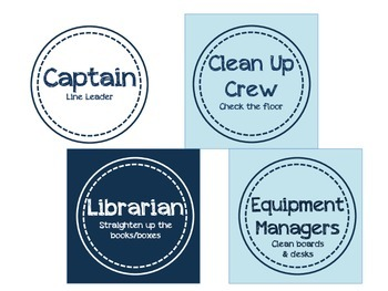 Classroom Jobs- Nautical/Blue