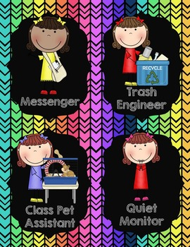 Classroom Jobs {Neon and Black Chevron}