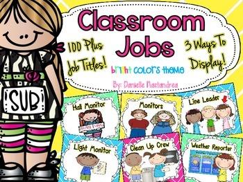Classroom Jobs *Over 100 job titles* {Bright Colors Theme}