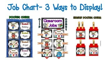 Classroom Jobs *Over 100 job titles* {Red & Blue Theme} 3 ways to display!