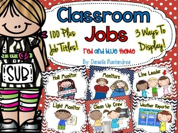 Classroom Jobs *Over 100 job titles* {Red & Blue Theme} 3