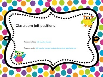 Classroom Jobs Owl Star Dots ppt