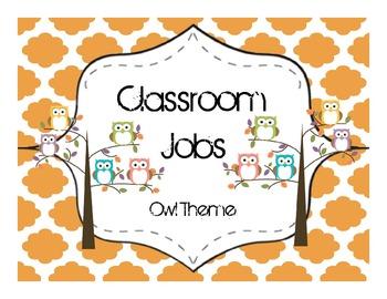 Classroom Jobs- Owl Theme