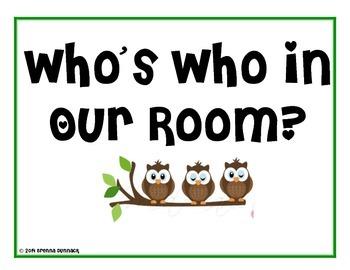 Classroom Jobs Owl Theme