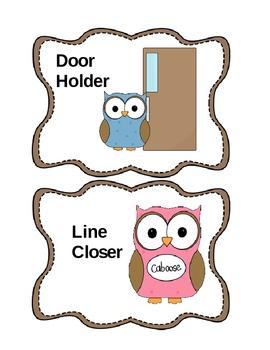 Classroom Jobs - Owl Themed