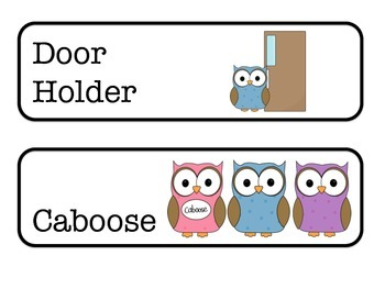 Classroom Jobs Owl Themed