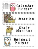 Classroom Jobs - Owl Themed