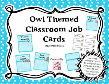 Classroom Jobs - Owl Themed with Blue Polka Dots