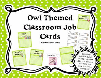 Classroom Jobs - Owl Themed with Green Polka Dots
