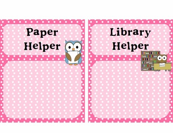 Classroom Jobs - Owl Themed with Pink Polka Dots