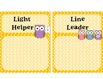 Classroom Jobs - Owl Themed with Yellow Polka Dots