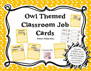 Classroom Jobs - Owl Themed with Yellow Polka Dots