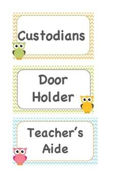 Classroom Jobs - Owls