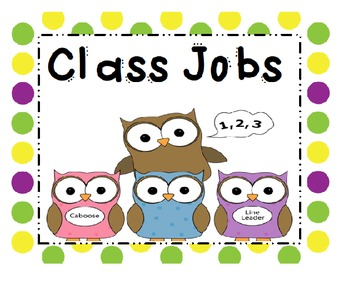 Classroom Jobs Owls and Polka Dots