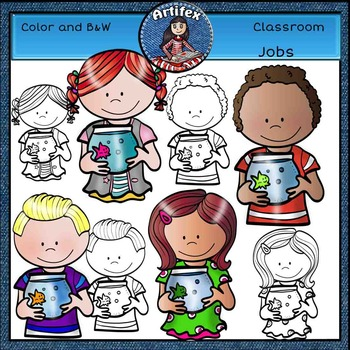 "Classroom Jobs ""Pet Care""- kids clip art- Color and B&W"
