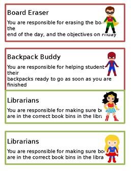 Classroom Jobs (Plain and Superhero) *Editable