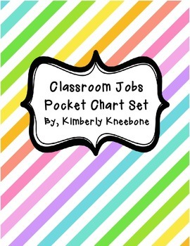 Classroom Jobs Pocket Bulletin Board/Chart Set - Neon Diagonal Stripes