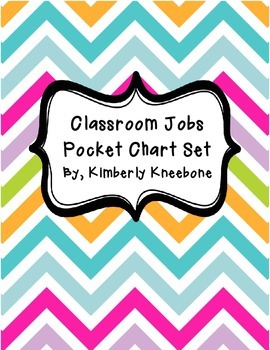 Classroom Jobs Pocket Bulletin Board/Chart Set - Pretty Chevron