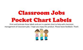 Classroom Jobs  Pocket Chart Labels