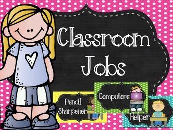 Classroom Jobs {Polka Dot & Chalkboard} Velcro or Pocket chart