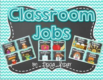Classroom Jobs Polka Dot and Chevron and EDITABLE Job Cards TEAL TURQUOISE MINT