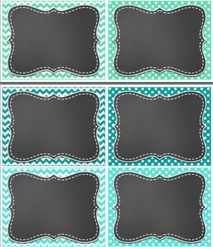 Classroom Jobs Polka Dot and Chevron and EDITABLE Job Cards TEAL TURQUOISE MINT
