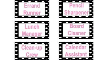 Classroom Jobs: Polka-dot themed EDITABLE