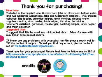 Classroom Jobs Posters | Classroom Helpers | Classroom Helpers Anchor Charts