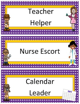 Classroom Jobs~ Purple Polka Dot with Gold Trim Detective