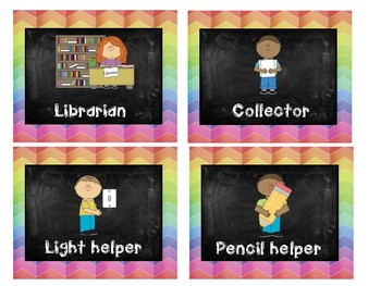 Classroom Jobs Rainbow Chalkboard theme