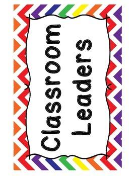 Classroom Jobs - Rainbow Chevron Theme