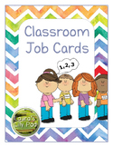 Classroom Jobs Rainbow Chevron Watercolor
