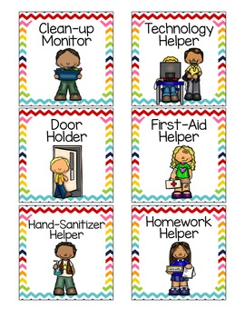 Classroom Jobs Rainbow Themed Labels - EDITABLE