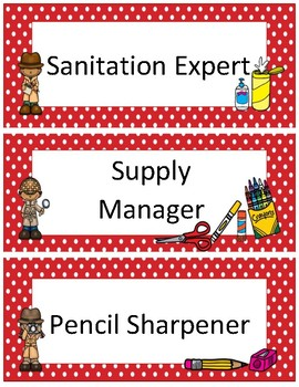 Classroom Jobs~ Red Polka Dot Detective
