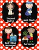 Classroom Jobs {Red and Black Polka Dots}