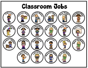 Classroom Jobs (Round Signs or Labels)
