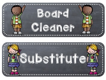 Classroom Jobs - Rounded Rectangle Chalkboards with Melonheadz Clip Art