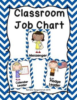 Classroom Jobs - Royal Blue Chevron Theme
