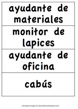 Classroom Jobs - SPANISH