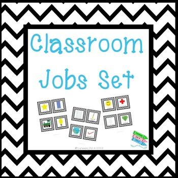 Classroom Jobs Set - Black Chevron