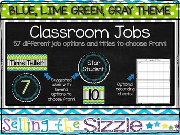 Classroom Jobs Set- Blue, Lime Green, Gray Themed
