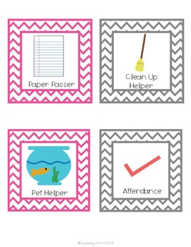 Classroom Jobs Set - Pink & Gray Chevron
