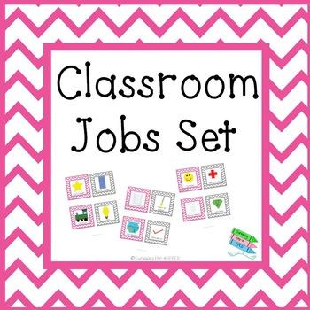 Classroom Jobs Set - Pink & Gray Chevron