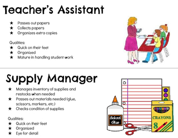 Classroom Jobs Signs: Elementary & Secondary