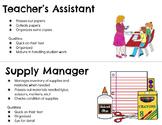 Classroom Jobs Signs: Elementary & Secondary