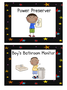 Classroom Jobs Signs with Outer Space Themed Backgrounds